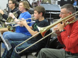 Horn section in rehearsal