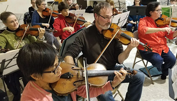 String section in rehearsal