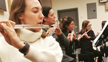 Flute choir in rehearsal
