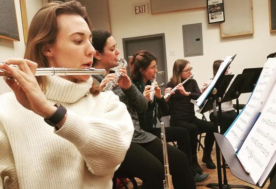 Flute choir rehearsal